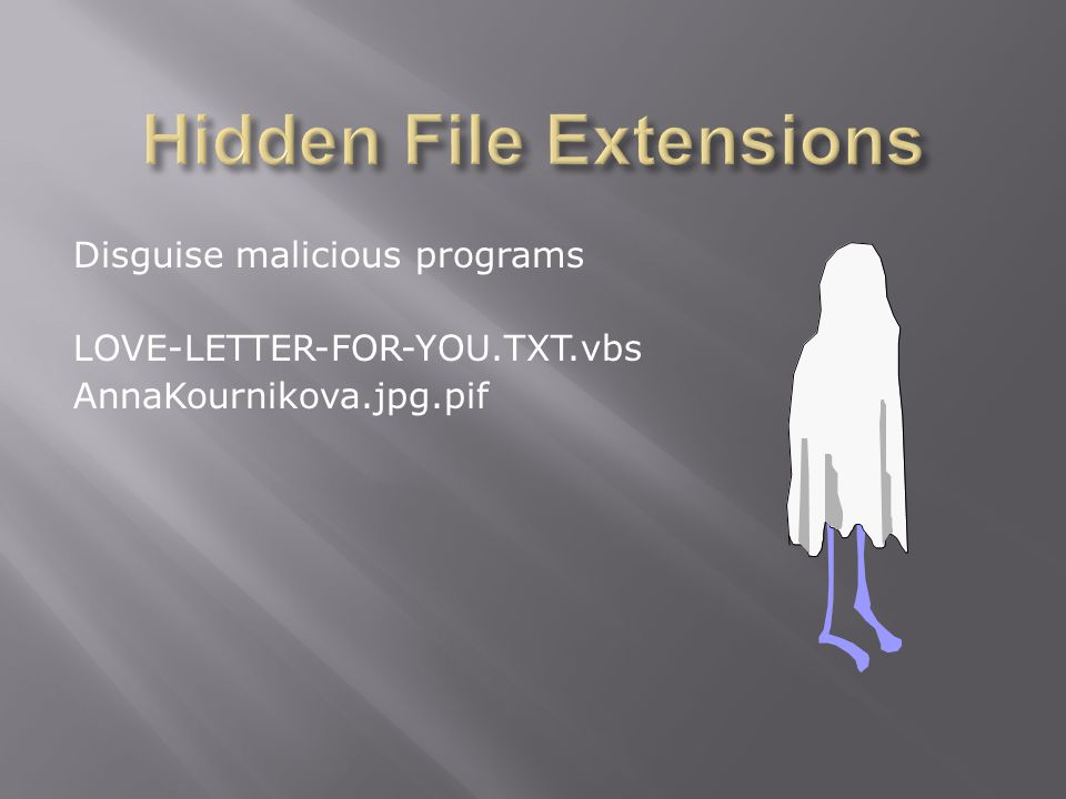 Disguise malicious programs LOVE-LETTER-FOR-YOU.TXT.vbs AnnaKournikova.jpg.pif