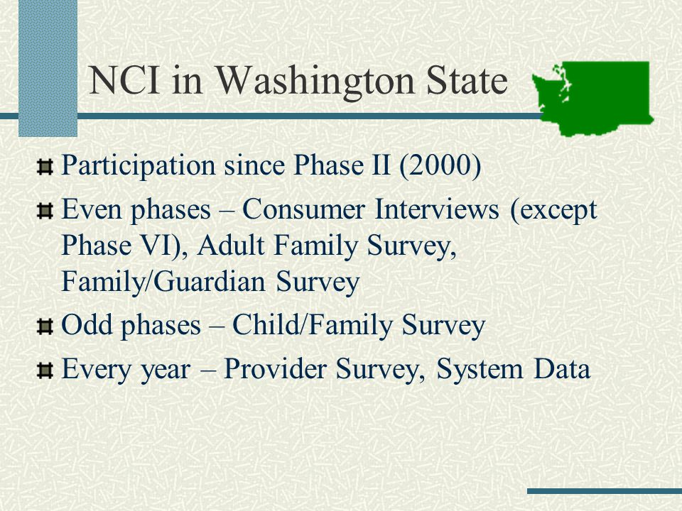 NCI in Washington State Participation since Phase II (2000) Even phases – Consumer Interviews (except Phase VI), Adult Family Survey, Family/Guardian Survey Odd phases – Child/Family Survey Every year – Provider Survey, System Data