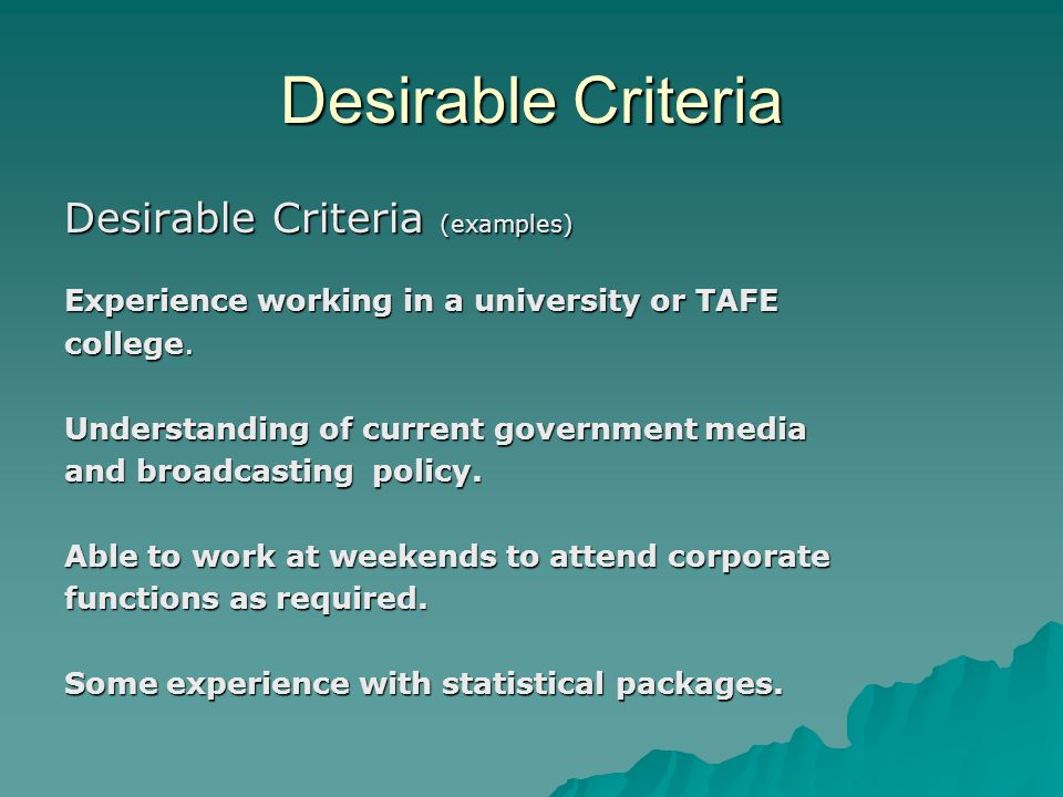 Selection Criteria Career Workshop #4 Careers Services University of ...