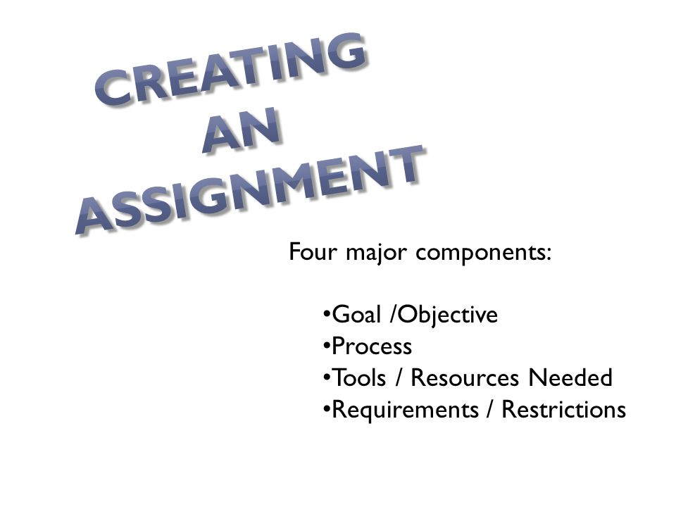 Four major components: Goal /Objective Process Tools / Resources Needed Requirements / Restrictions