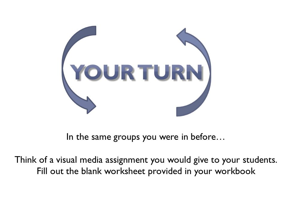In the same groups you were in before… Think of a visual media assignment you would give to your students.