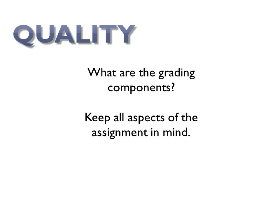 What are the grading components Keep all aspects of the assignment in mind.