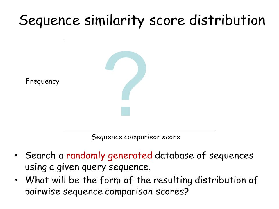Sequence similarity score distribution Search a randomly generated database of sequences using a given query sequence.