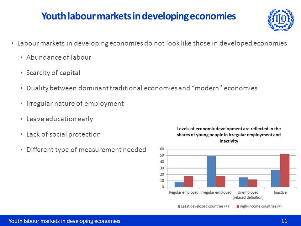 Labour markets in developing economies do not look like those in developed economies Abundance of labour Scarcity of capital Duality between dominant traditional economies and modern economies Irregular nature of employment Leave education early Lack of social protection Different type of measurement needed Youth labour markets in developing economies 11 Youth labour markets in developing economies