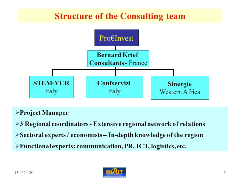 15 / 02 / 052 Structure of the Consulting team Pro€Invest Bernard Krief Consultants - France Sinergie Western Africa Confservizi Italy STEM-VCR Italy  Project Manager  3 Regional coordinators - Extensive regional network of relations  Sectoral experts / economists – In-depth knowledge of the region  Functional experts: communication, PR, ICT, logistics, etc.