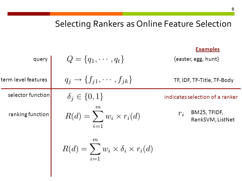 1 Online Feature Selection for Information Retrieval Niranjan