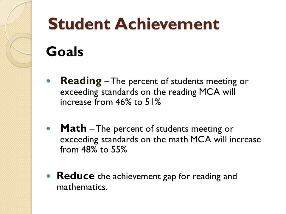 Student Achievement Goals Reading – The percent of students meeting or exceeding standards on the reading MCA will increase from 46% to 51% Math – The percent of students meeting or exceeding standards on the math MCA will increase from 48% to 55% Reduce the achievement gap for reading and mathematics.