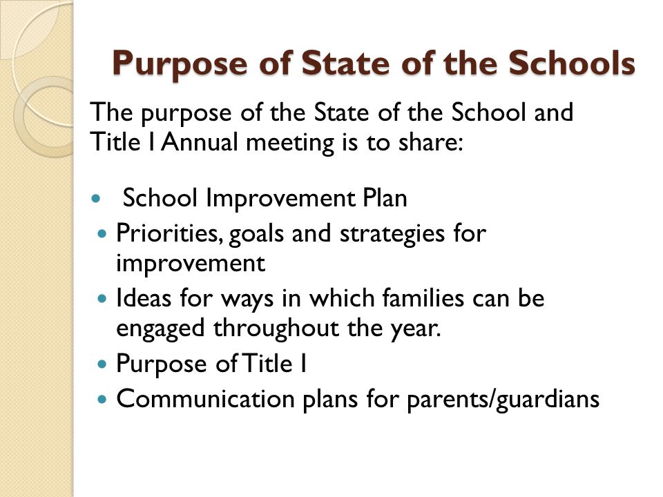 Purpose of State of the Schools The purpose of the State of the School and Title I Annual meeting is to share: School Improvement Plan Priorities, goals and strategies for improvement Ideas for ways in which families can be engaged throughout the year.