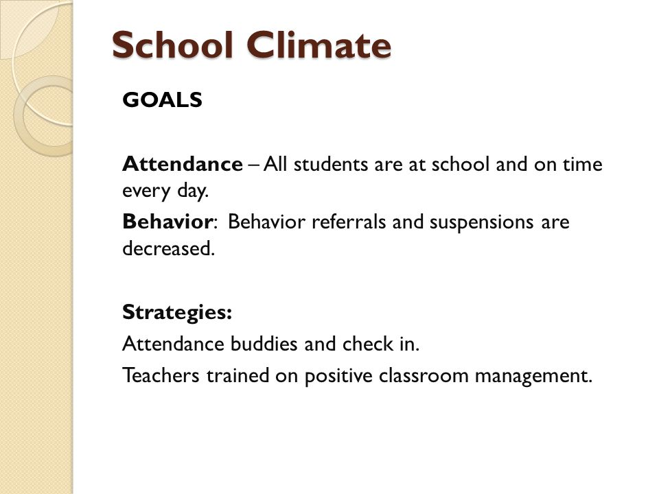 School Climate GOALS Attendance – All students are at school and on time every day.