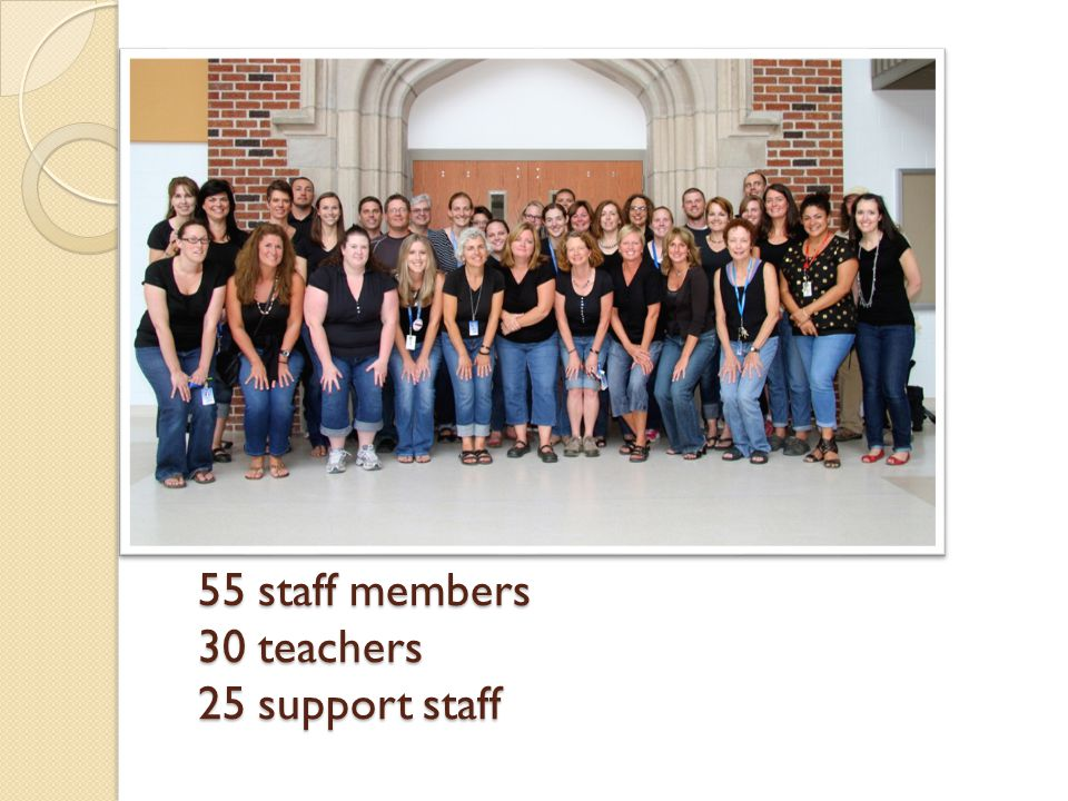 55 staff members 30 teachers 25 support staff