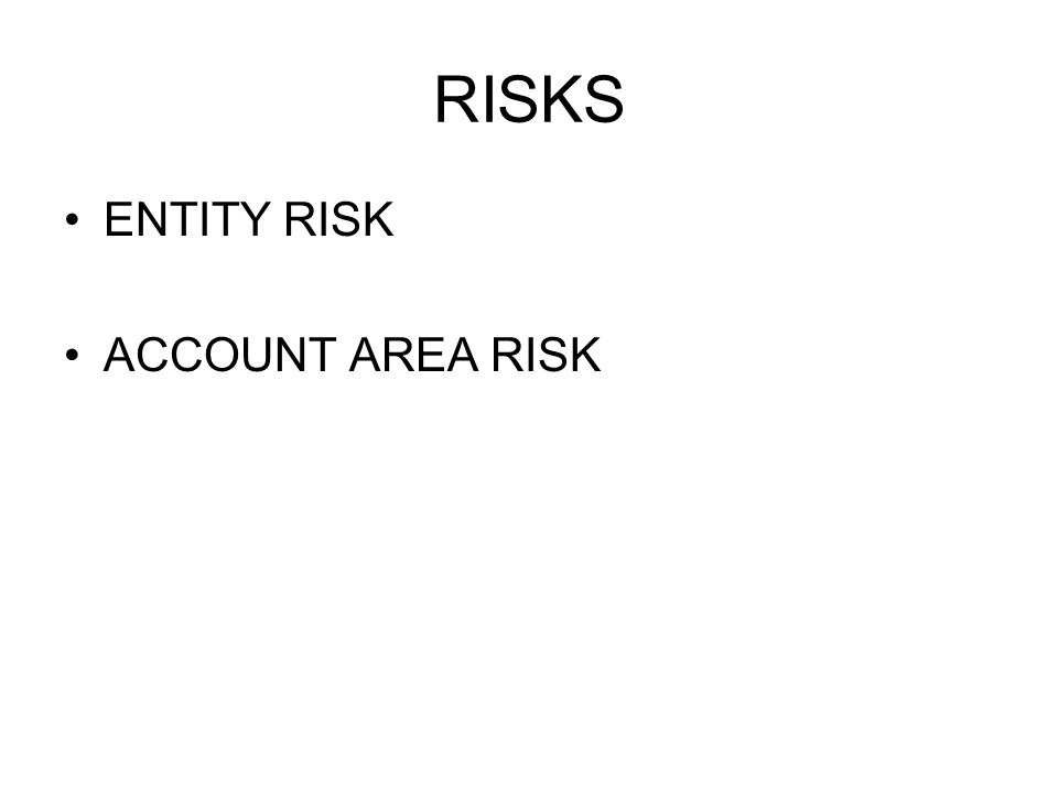RISKS ENTITY RISK ACCOUNT AREA RISK