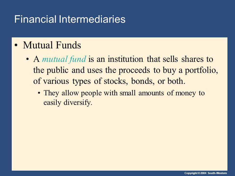 Copyright © 2004 South-Western Financial Intermediaries Mutual Funds A mutual fund is an institution that sells shares to the public and uses the proceeds to buy a portfolio, of various types of stocks, bonds, or both.