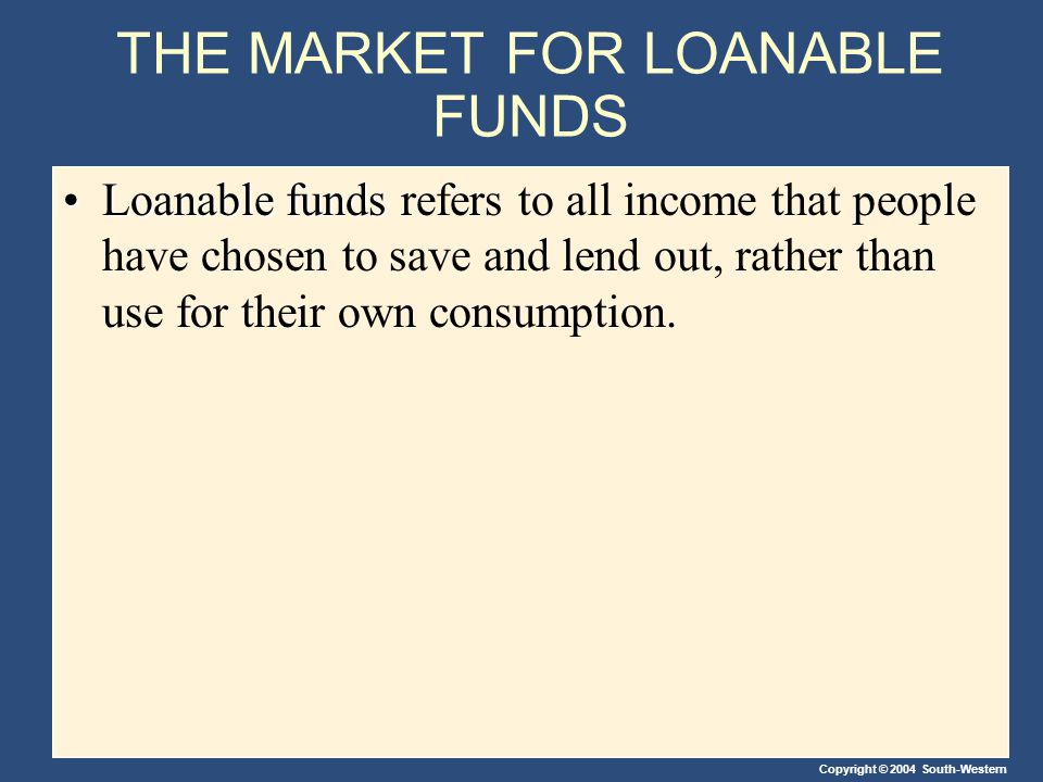 Copyright © 2004 South-Western THE MARKET FOR LOANABLE FUNDS Loanable fundsLoanable funds refers to all income that people have chosen to save and lend out, rather than use for their own consumption.