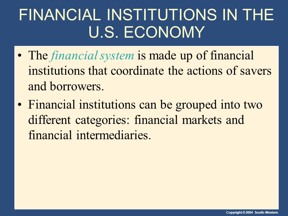 Copyright © 2004 South-Western FINANCIAL INSTITUTIONS IN THE U.S.