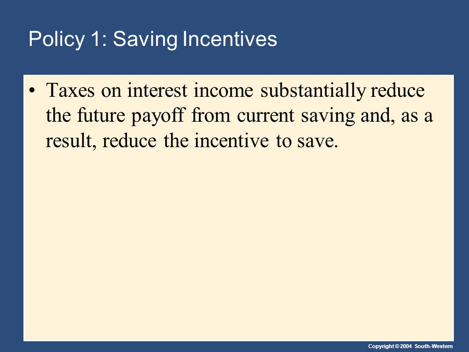 Copyright © 2004 South-Western Policy 1: Saving Incentives Taxes on interest income substantially reduce the future payoff from current saving and, as a result, reduce the incentive to save.