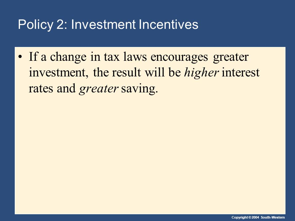 Copyright © 2004 South-Western Policy 2: Investment Incentives If a change in tax laws encourages greater investment, the result will be higher interest rates and greater saving.