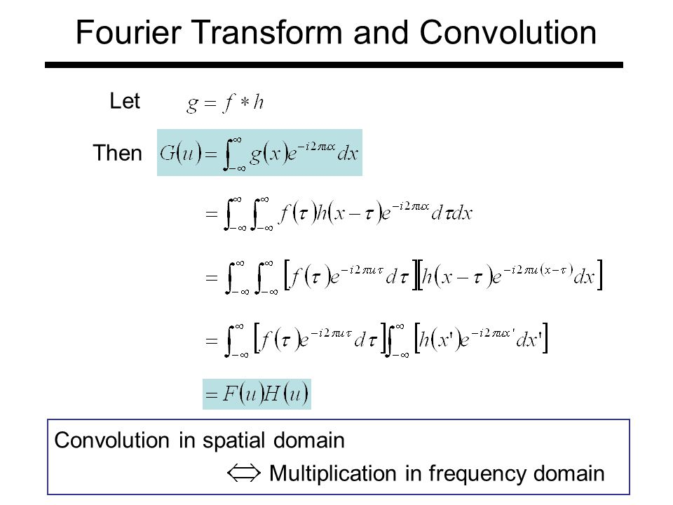 Fourier Transform and Convolution Let Then Convolution in spatial domain Multiplication in frequency domain