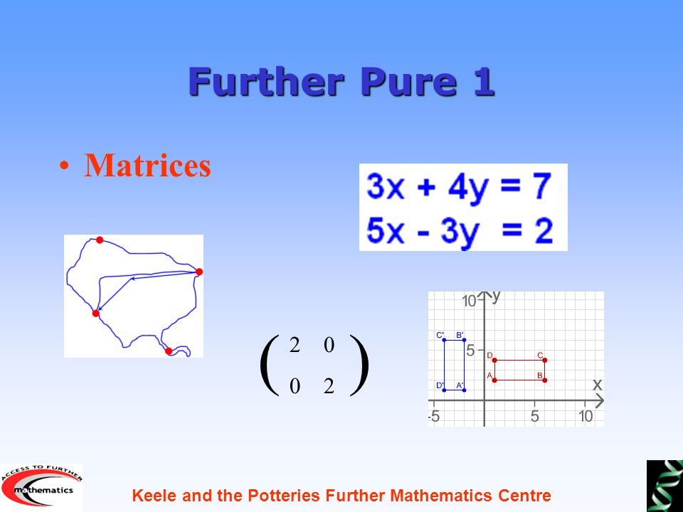 Keele and the Potteries Further Mathematics Centre Further Pure 1 Matrices ( )