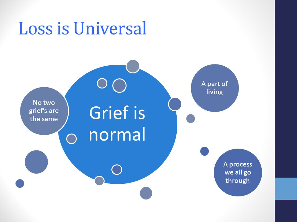 Loss is Universal Grief is normal No two grief s are the same A part of living A process we all go through