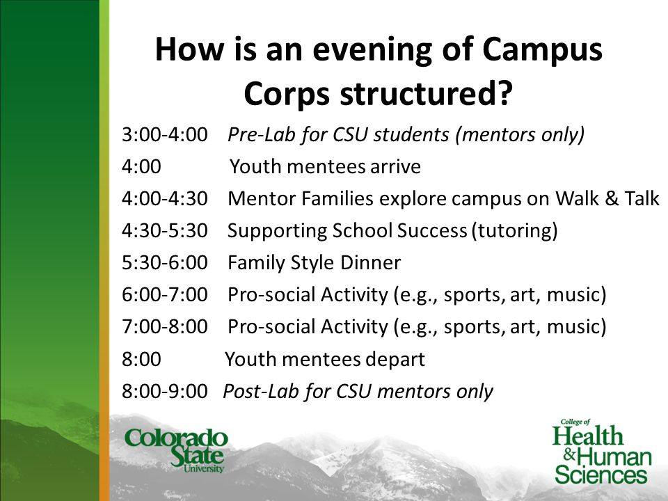 How is an evening of Campus Corps structured.
