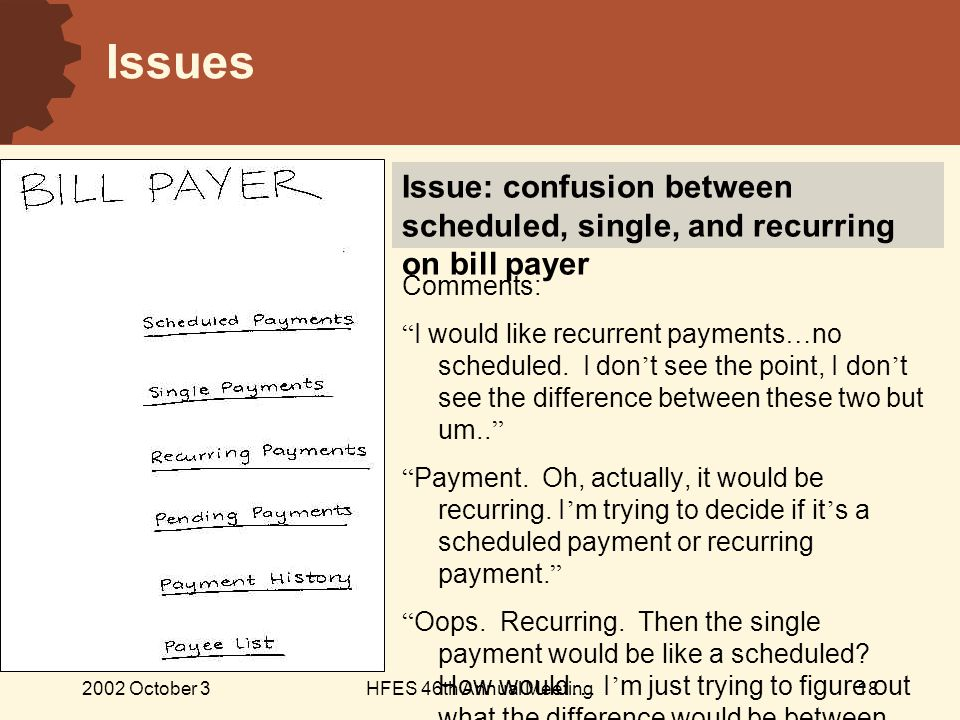 2002 October 3HFES 46th Annual Meeting18 Issues Comments: I would like recurrent payments … no scheduled.