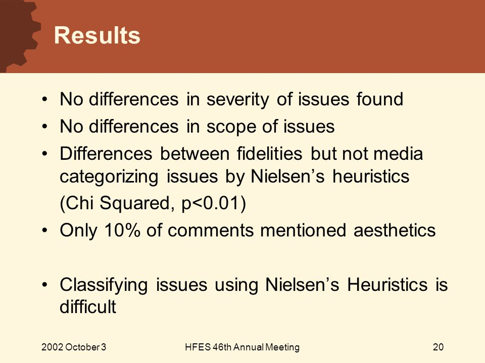 2002 October 3HFES 46th Annual Meeting20 Results No differences in severity of issues found No differences in scope of issues Differences between fidelities but not media categorizing issues by Nielsen's heuristics (Chi Squared, p<0.01) Only 10% of comments mentioned aesthetics Classifying issues using Nielsen's Heuristics is difficult