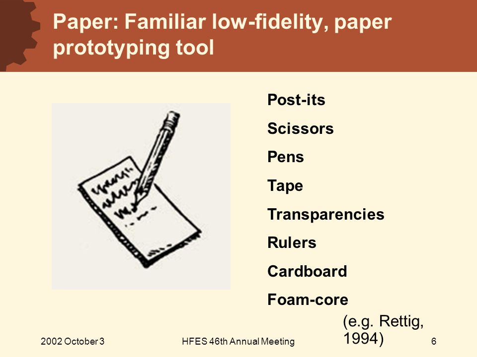 2002 October 3HFES 46th Annual Meeting6 Paper: Familiar low-fidelity, paper prototyping tool Post-its Scissors Pens Tape Transparencies Rulers Cardboard Foam-core (e.g.