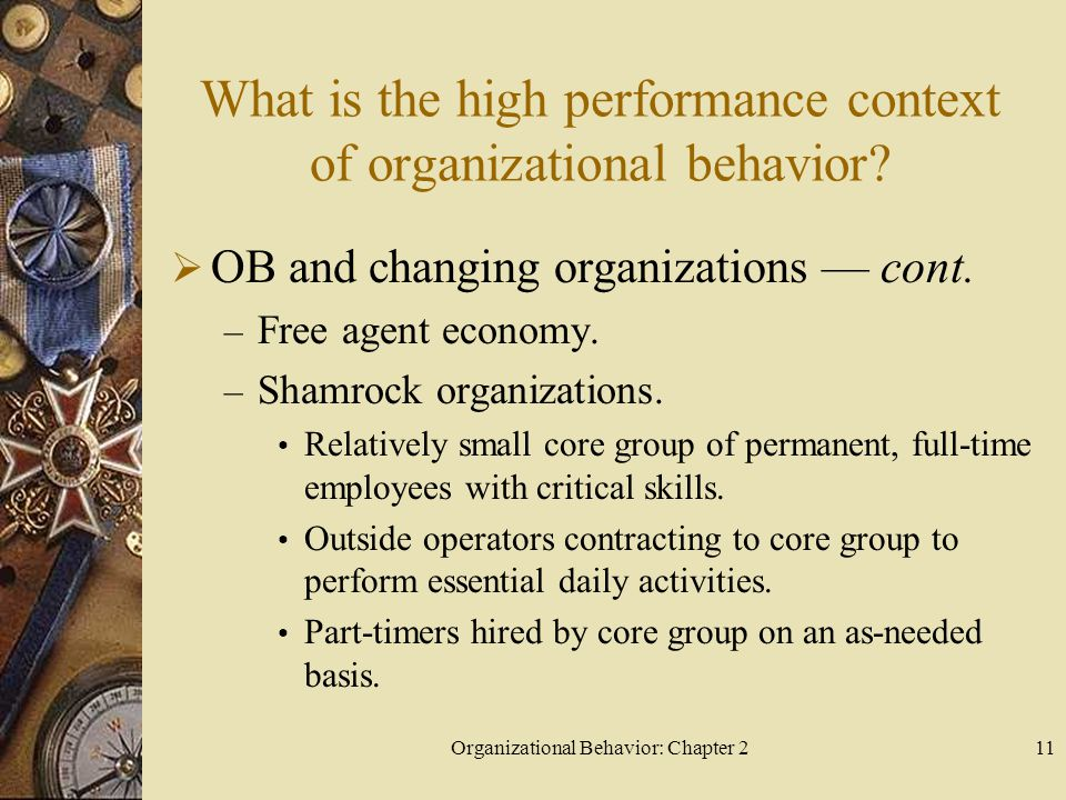 Organizational Behavior: Chapter 211 What is the high performance context of organizational behavior.