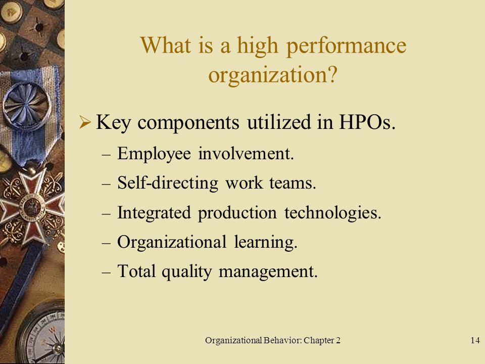 Organizational Behavior: Chapter 214 What is a high performance organization.