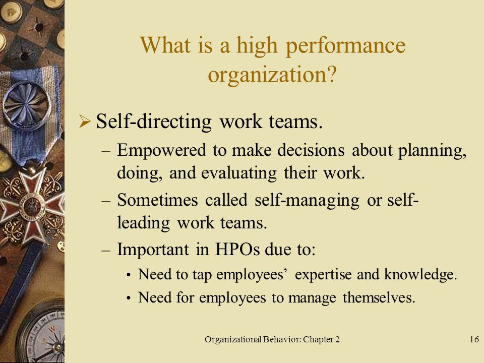 Organizational Behavior: Chapter 216 What is a high performance organization.