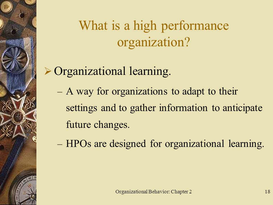 Organizational Behavior: Chapter 218 What is a high performance organization.