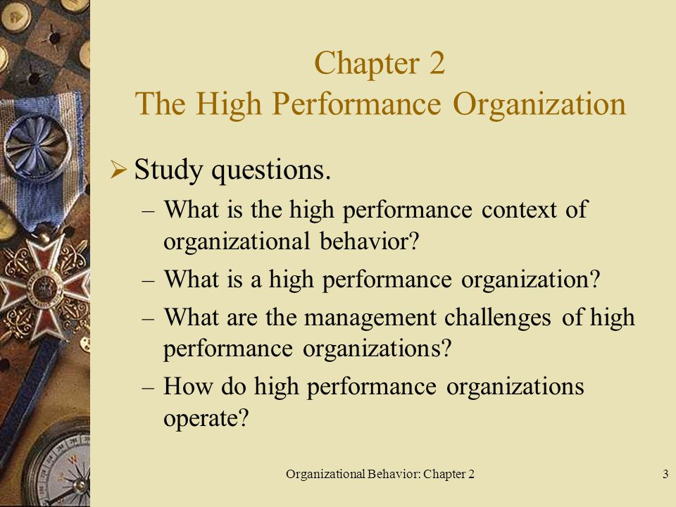 Organizational Behavior: Chapter 23 Chapter 2 The High Performance Organization  Study questions.