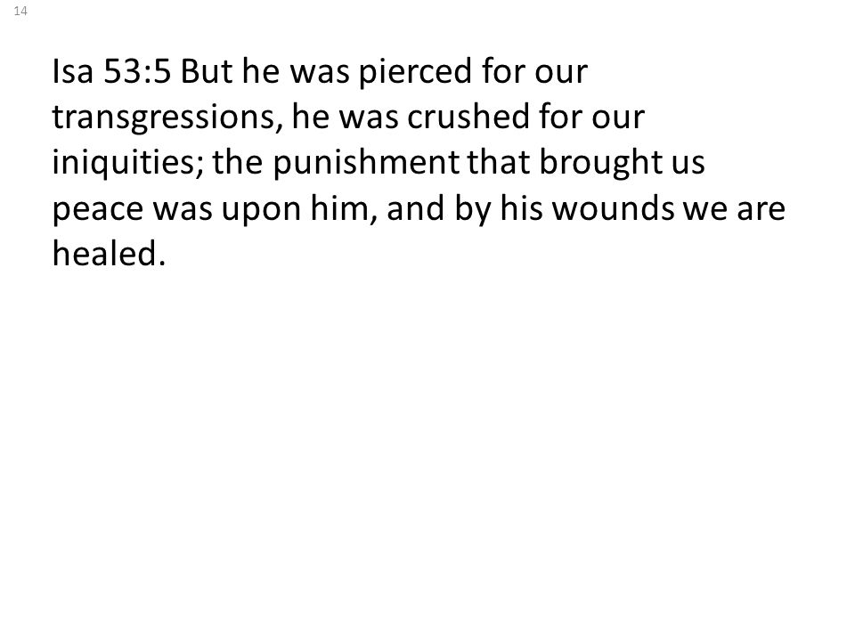 Isa 53:5 But he was pierced for our transgressions, he was crushed for our iniquities; the punishment that brought us peace was upon him, and by his wounds we are healed.