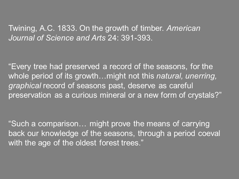 Twining, A.C. 1833. On the growth of timber. American Journal of Science and Arts 24: 391-393.