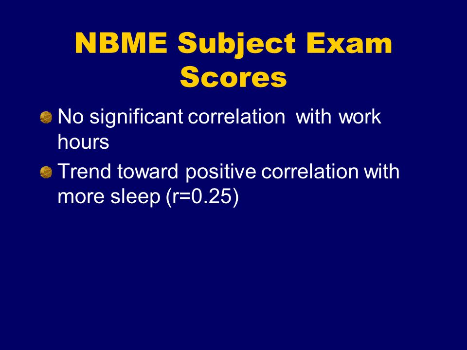 NBME Subject Exam Scores No significant correlation with work hours Trend toward positive correlation with more sleep (r=0.25)