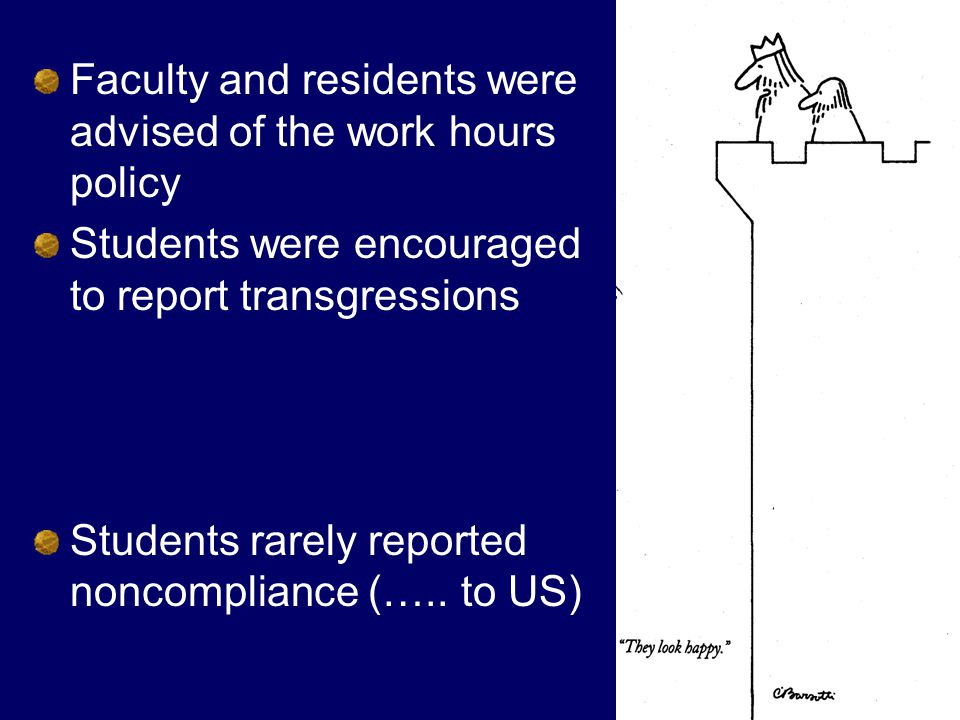 Faculty and residents were advised of the work hours policy Students were encouraged to report transgressions Students rarely reported noncompliance (…..