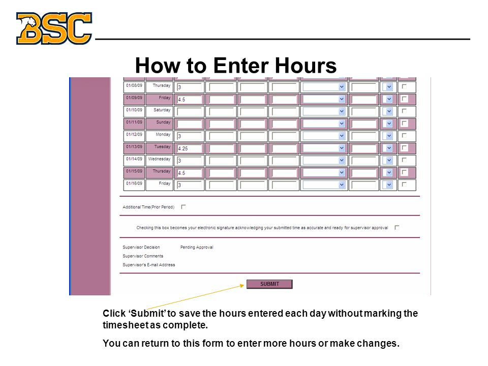 How to Enter Hours Click 'Submit' to save the hours entered each day without marking the timesheet as complete.