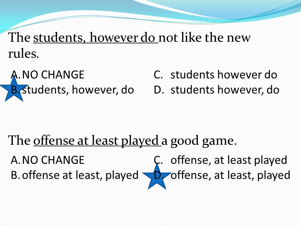 The students, however do not like the new rules. The offense at least played a good game.