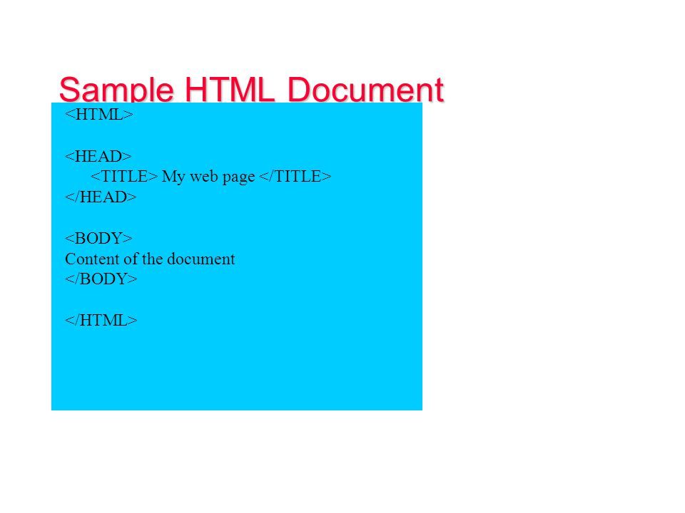 HTML Document Structure The HTML document is divided into two major parts: HEAD: contains information about the document: Title of the page (which appears at the top of the browser window) Meta tags: used to describe the content (used by Search engines) JavaScript and Style sheets generally require statements in the document Head BODY: Contains the actual content of the document This is the part that will be displayed in the browser window