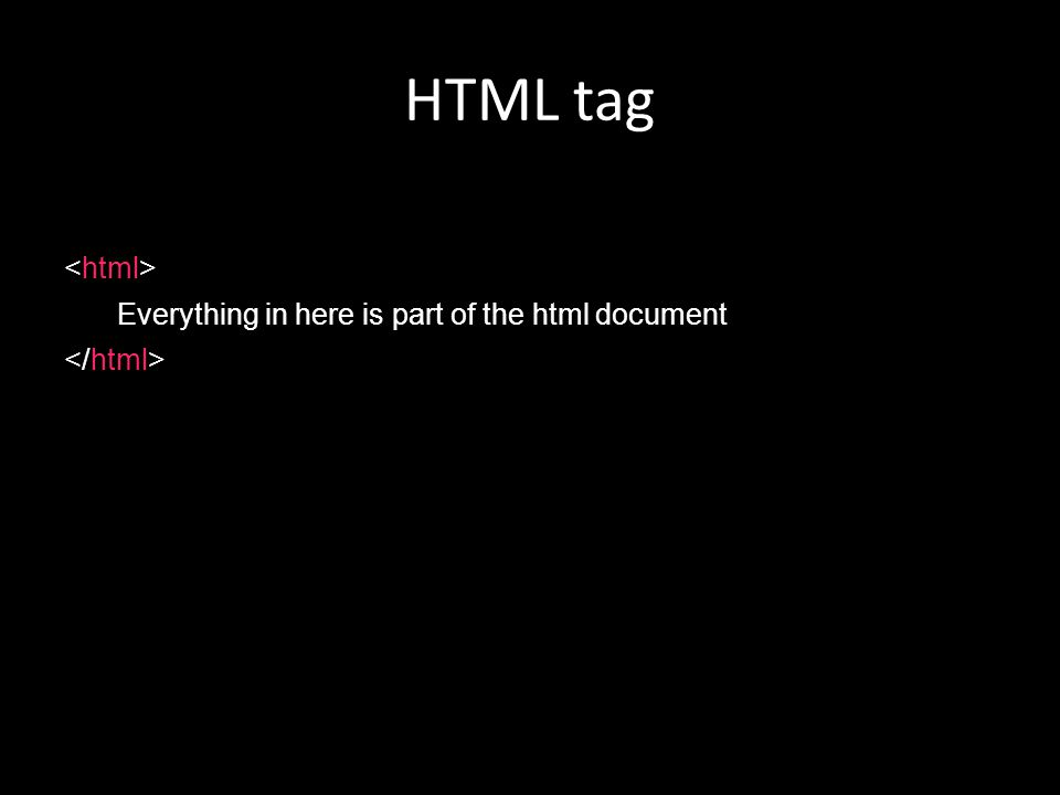 HTML tag Everything in here is part of the html document