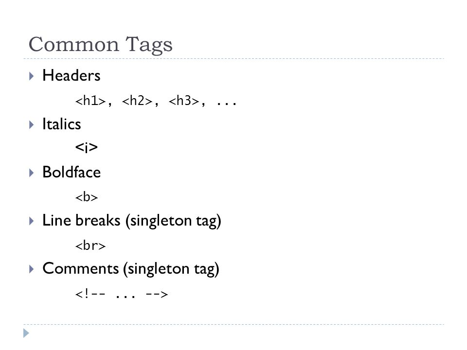 Common Tags  Headers,,,...