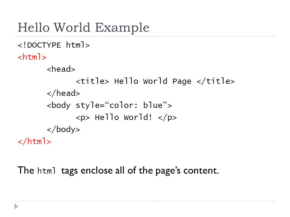 Hello World Example Hello World Page Hello World! The html tags enclose all of the page's content.