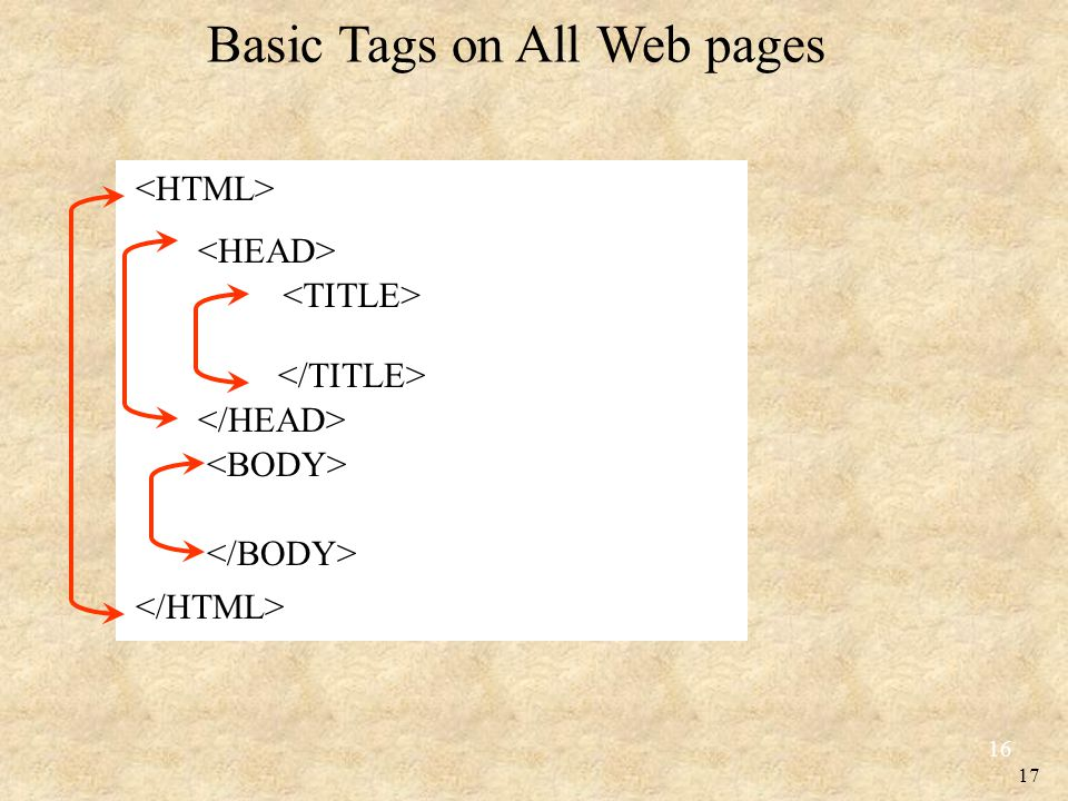 17 Basic Tags on All Web pages 16