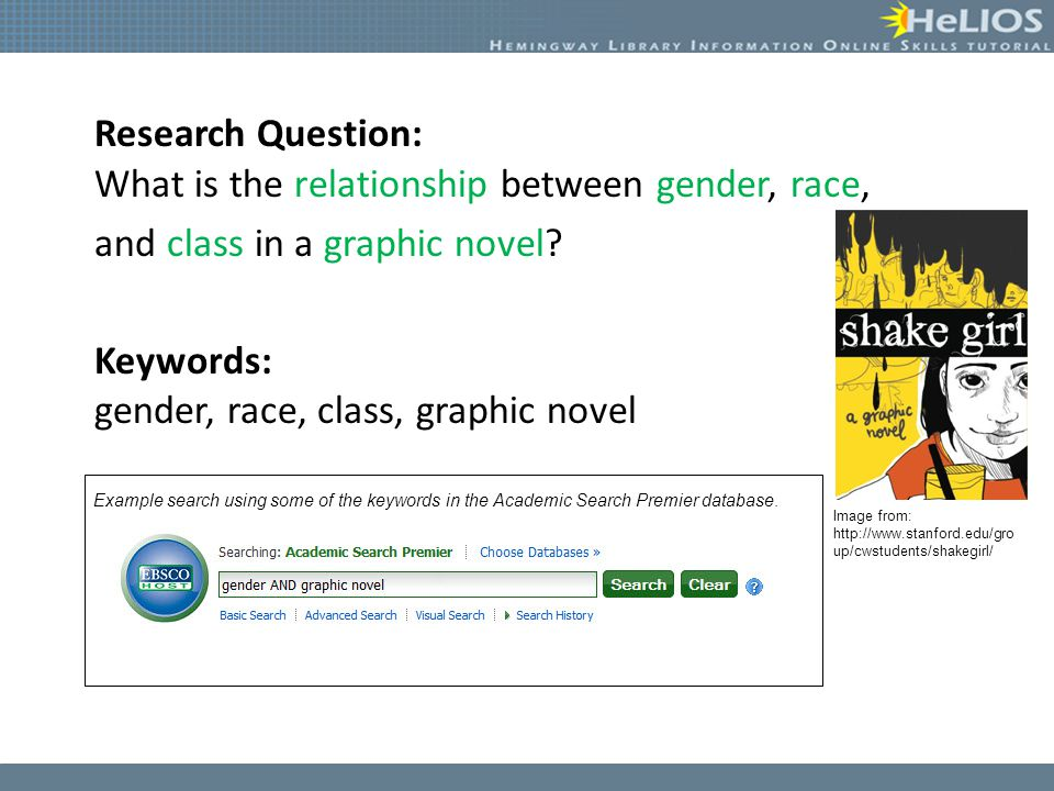 Research Question: What is the relationship between gender, race, and class in a graphic novel.