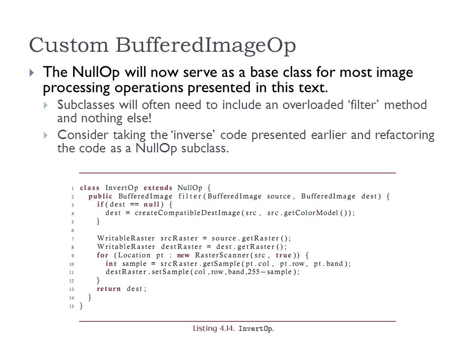 Custom BufferedImageOp  The NullOp will now serve as a base class for most image processing operations presented in this text.