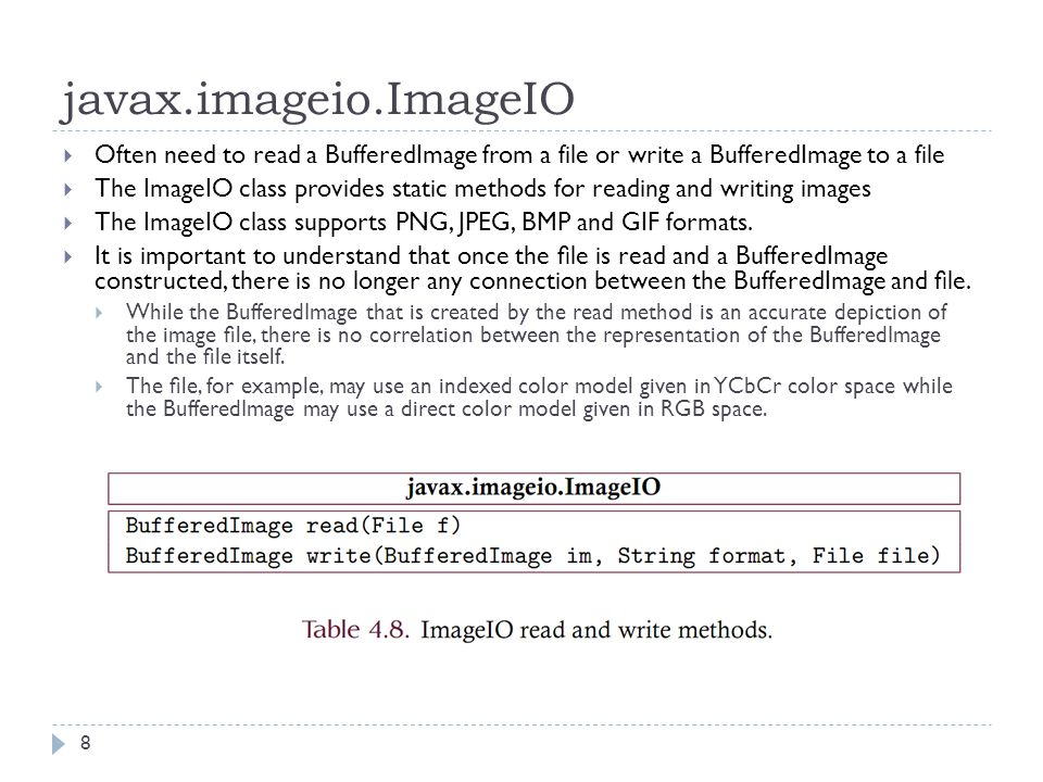 javax.imageio.ImageIO  Often need to read a BufferedImage from a file or write a BufferedImage to a file  The ImageIO class provides static methods for reading and writing images  The ImageIO class supports PNG, JPEG, BMP and GIF formats.