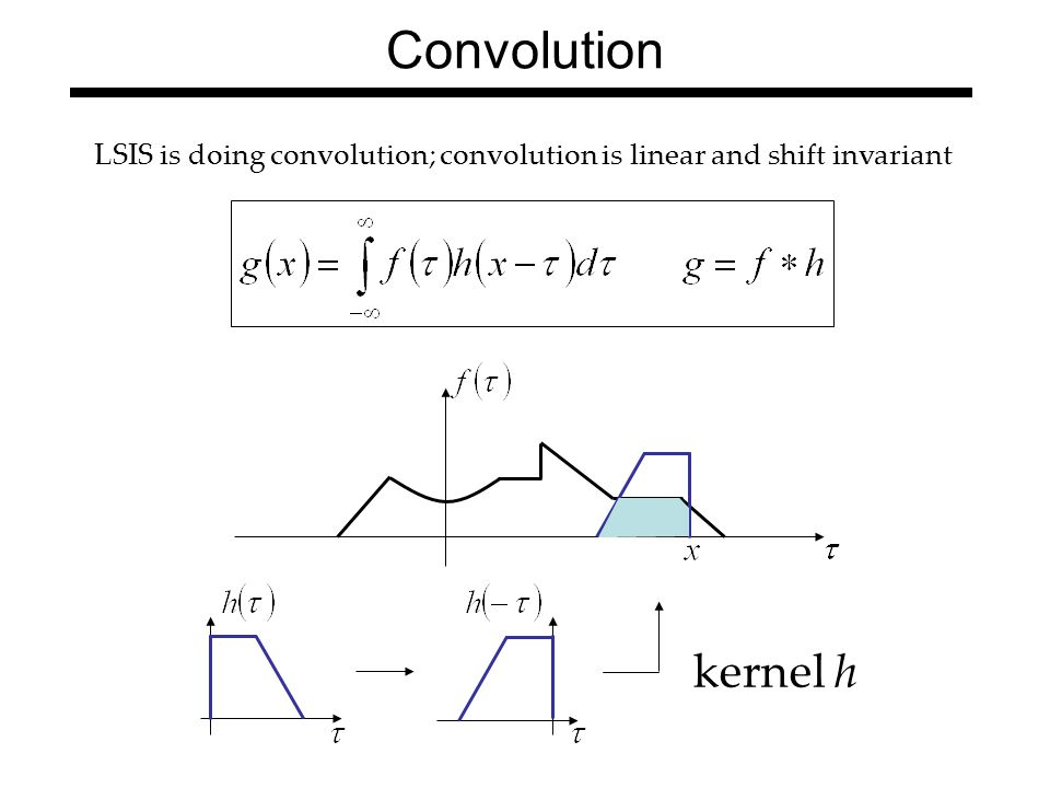 Convolution LSIS is doing convolution; convolution is linear and shift invariant kernel h