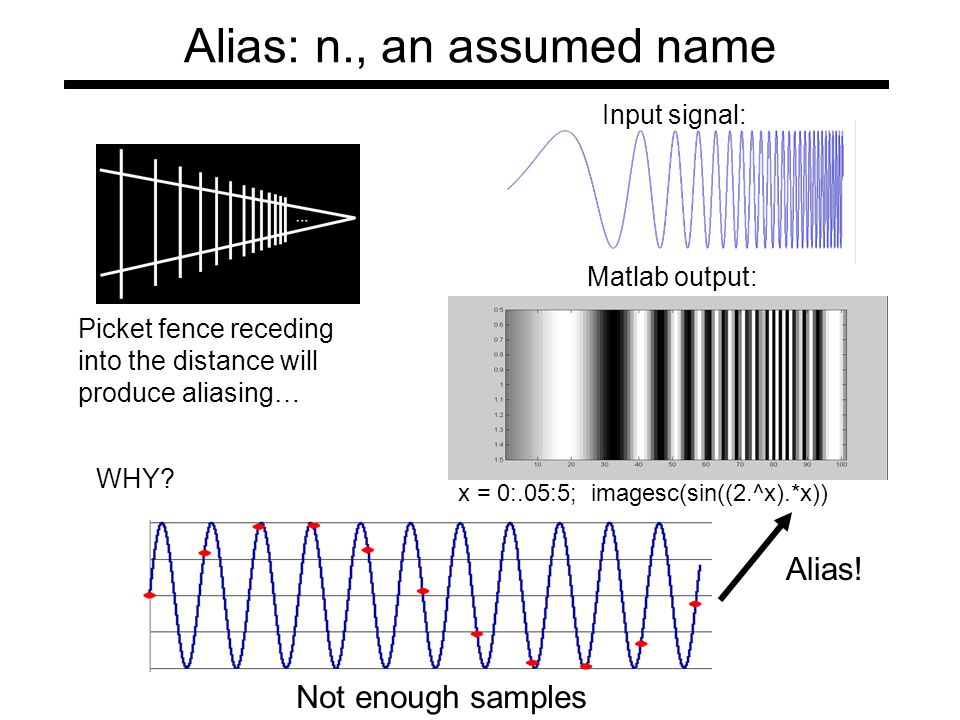 Alias: n., an assumed name Picket fence receding into the distance will produce aliasing… Input signal: x = 0:.05:5; imagesc(sin((2.^x).*x)) Matlab output: WHY.