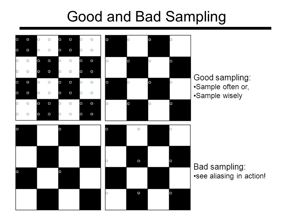 Good and Bad Sampling Good sampling: Sample often or, Sample wisely Bad sampling: see aliasing in action!