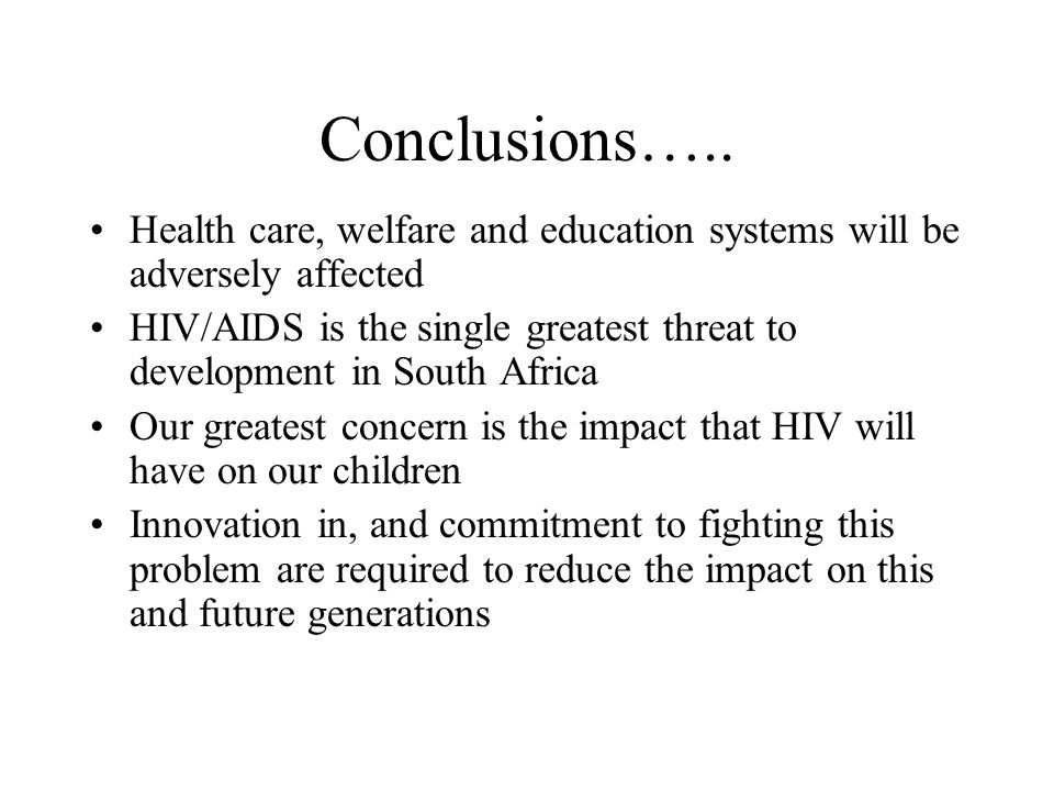 conclusion and recommendation of hiv/aids